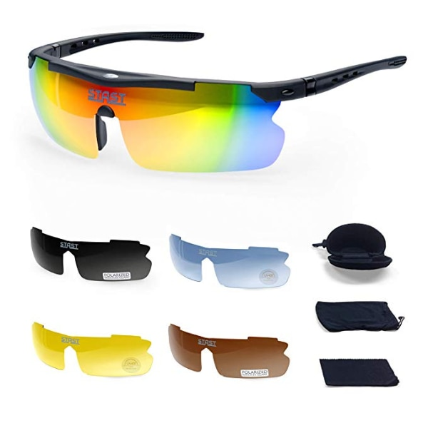 Cycling Sunglasses for Men with 5 Interchangeable Lenses Polarized Glasses