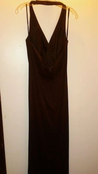 Long brown special occasion dress with gold details XL Catlett, 20119