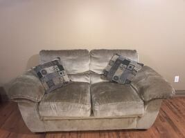 Two Beige Plush Love seats & Oversized Chair
