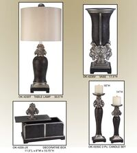 Black and grey table lamp and candle holders