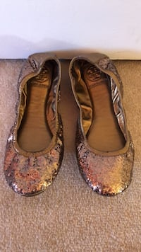 Tory Burch Gold Sequin Flats size 8 10 km