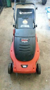 red and black Electric Black & Decker push lawnmower Brantford, N3R 6L6