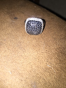 silver with black gemstone diamond embellished ring