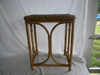 Vintage Bamboo and Wicker Accent Table ORANGEPARK