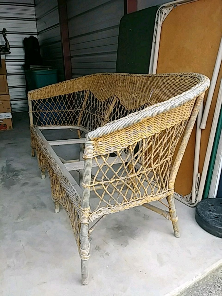 3 Pc Antique Wicker Sofa And Chairs