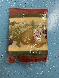 Vianey catalogue fruit curtains (2 sets) & table cloth for round table