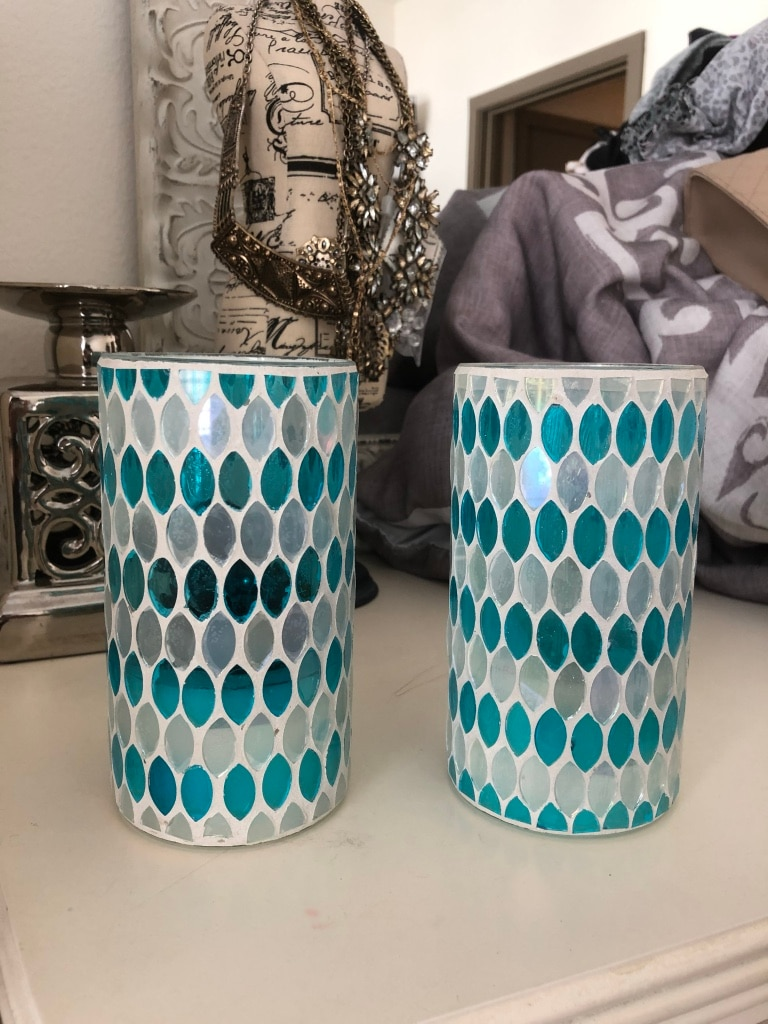 Teal and white battery operated lights/candle holders