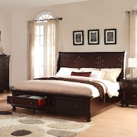 NEW in boxes Brishland Rustic Queen Sleigh Bed w/ Storage Drawers COLUMBIA