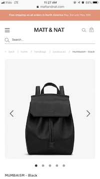 BNIB Matt & Nat black vegan leather backpack Vancouver