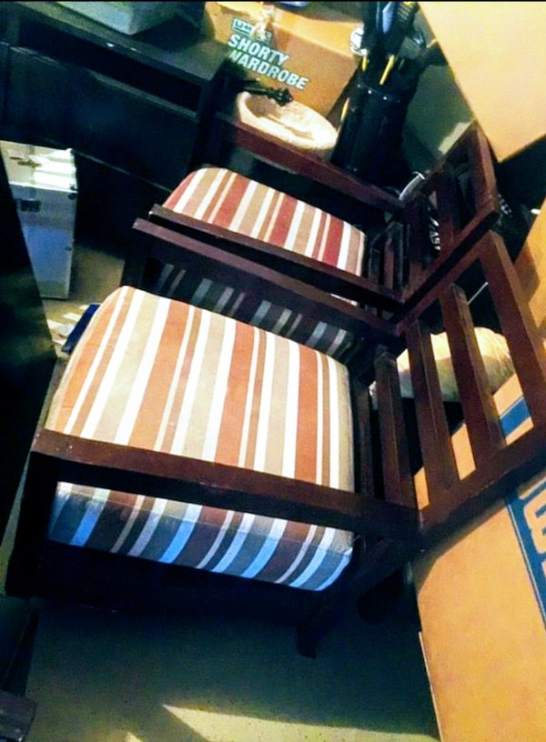 2 Wide Wood Padded Arm Chairs