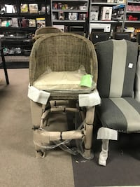 two gray padded brown wooden armchairs Indianapolis, 46268