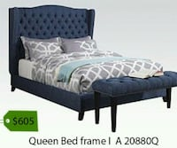 black wooden bed frame with white and blue comforter set La Mirada, 90638