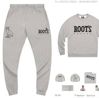 OvO x ROOTS crew neck and trackpants MEDIUM Toronto, M6N 3Z5