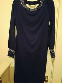 navy  Calvin Klein scoop-neck long-sleeved dress 6