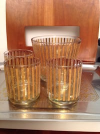 Vintage Gold plated crystal Whiskey ice-Bucket with matching crystal glasses Richmond Hill, L4C 0H9