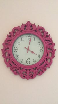 round pink and white analog wall clock Boonville, 47601