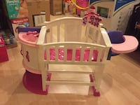 Children's white and pink plastic crib and changer combo Richmond Hill, L4S 2E5