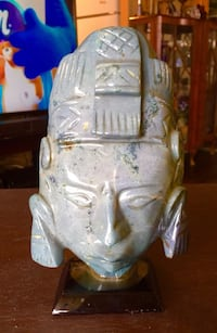 Turquoise hand carved stone mask from South America Welland, L3C