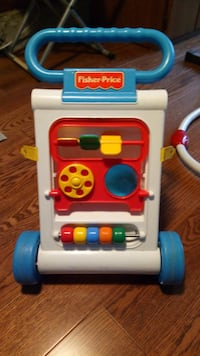 baby's white, blue, and red Fisher-Price learning walker