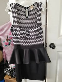 women's gray, black, and white Peplum dress Pasadena, 77503