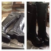 black leather buckled knee high boots