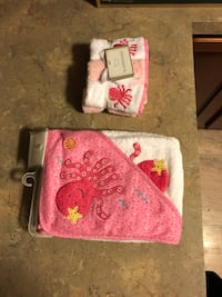 Pink and white baby bath towel and washcloth