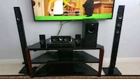 black and gray home theater system plus TV table Edmonton, T6W 0E6