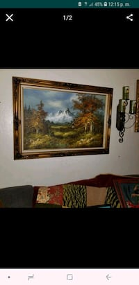 Oil painting brown wooden framed painting of house San Leandro, 94578