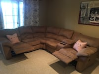 Tan sectional couches with recliners, cup holders, and a remote compartment. Woodbridge, 22193