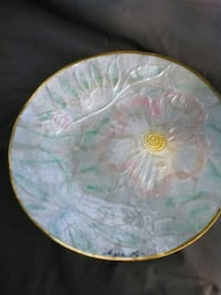 round white,pink,gold and green floral ceramic decorative plate Daytona Beach, 32117
