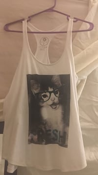 White and black cat graphic print tank top