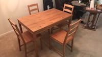 rectangular brown wooden table with four chairs dining set Rockville, 20852
