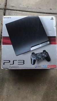 black Sony PS3 slim console with controller 2356 mi
