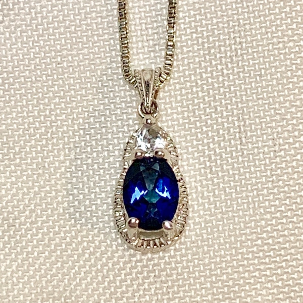 Vintage Sterling Silver & Sapphire Pendant with Sterling  Box Chain 5466675d-222f-4469-82e8-c187a656aafb