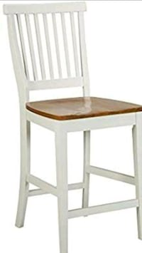 brown wooden framed white padded chair North Las Vegas, 89032