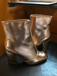 pair of brass leather front-zip chunky-heeled ankle booties Central Okanagan, V4T 1T8