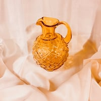 Mouth Blown Quilted Amber Art Glass Pitcher Bear, 19701