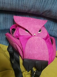 pink owl leather backpack
