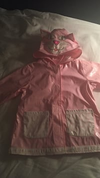 pink and white raincoat