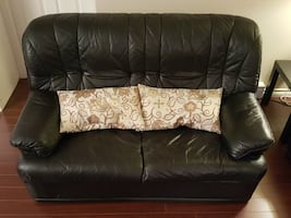 Beautiful Black Genuine Leather Loveseat For Sale $50