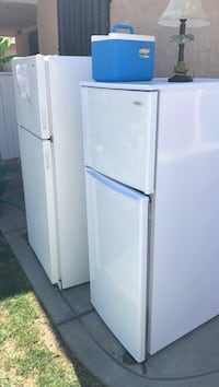 two white top-mount refrigerators and blue and white cooler box Fresno, 93702