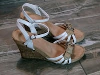 pair of brown leather open-toe wedges Houston, 77091