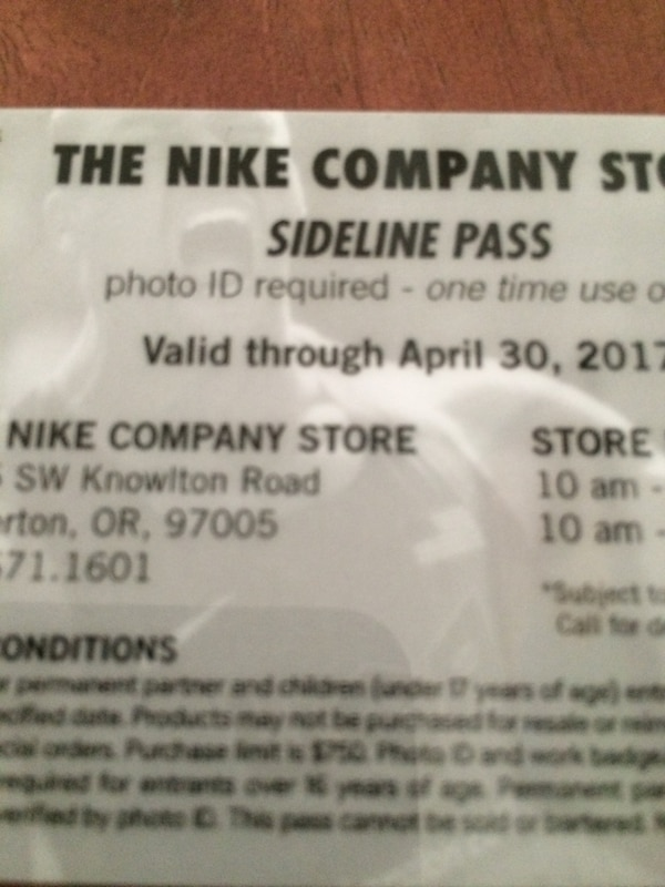 7e2bd8b58 Used The nike company store sideline pass card for sale in Portland - letgo