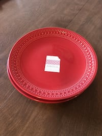 round red and white ceramic plate WASHINGTON