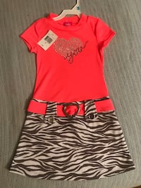 New 5t Coral pink dress with grey white zebra skirt bottom crystal hearts Phelps, 14532