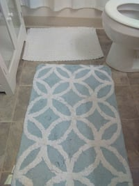rectangular blue and white area rug