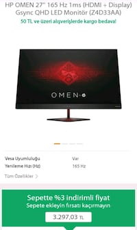 Omen by hp 27.inc 165hz Beylikdüzü
