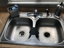 Kitchen sink and faucet 33X6 deep