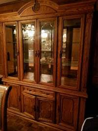 brown wooden framed glass china cabinet Markham, L6C 1A5