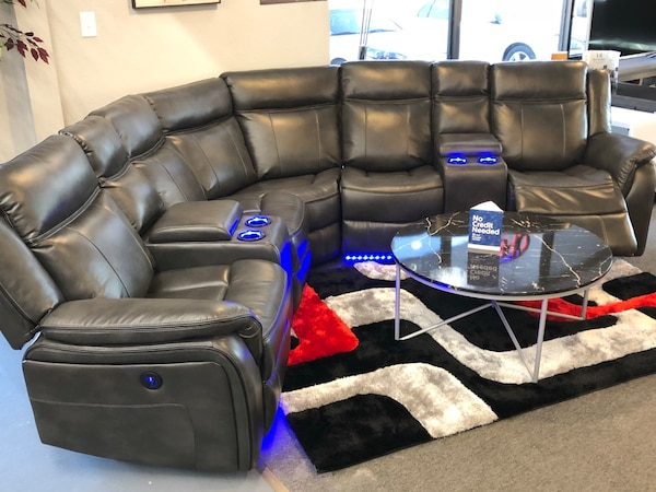 Miraculous Brand New Sectional Sofa With 2 Power Seats Led Lights Usb Charger Ports And 2 Consoles Machost Co Dining Chair Design Ideas Machostcouk